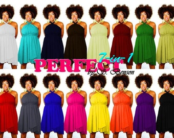"Convertible Short Dress Tunic Skirt Sizes ( 2 - 26 ) 25"" L ... Pick your color Made to Order"