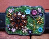 Secret Garden Vintage Jewelry Accents, Mosaic Belt Buckle, Wearable Art