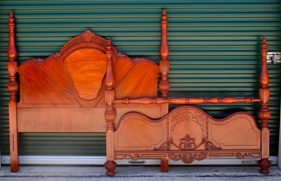 Vintage Victorian Full/Queen Bed Headboard and Footboard