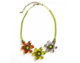Flower Statement Necklace, Green, Amber Brown, Grey - Handmade Beaded Necklace