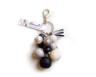 Black and White Keychain/ Bag Decoration - Black, White, Grey Polka Dot Licorice - Bubble Candy Collection - Limited Edition Keychains