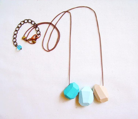 Turquoise Blue Geometric Necklace - Pastel Ombre - turquoise, blue, tan - Rare Diamonds Collection