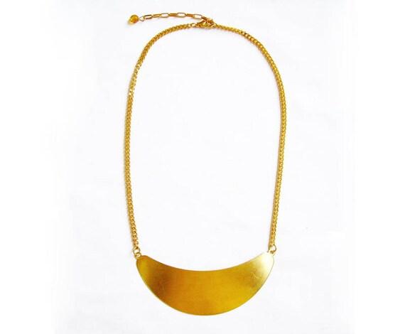 Moon Crescent Necklace in Gold - Bib Collar Statement Minimalist Raw Brass handmade Necklace