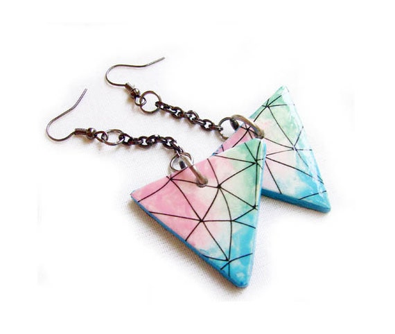 Ombre Geometric Earrings in Blue, Pink, Mint - Triangle Handmade Clay Triangle Earrings