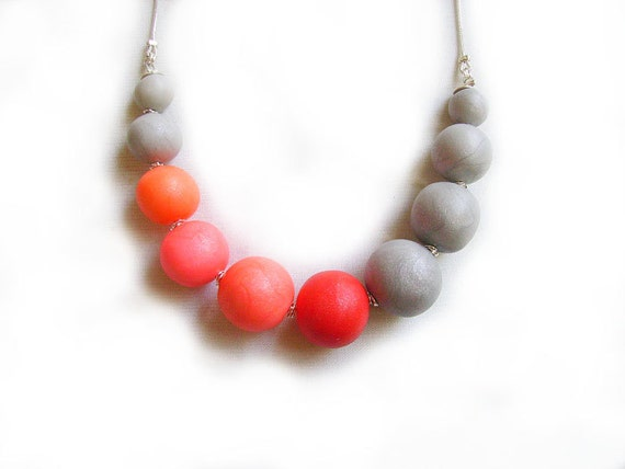 Polymer Clay Bubble Necklace in Coral Red and Grey AND Matching earrings