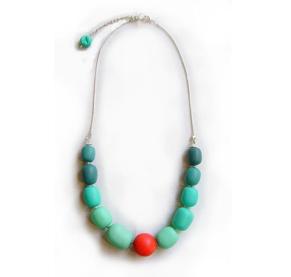 Mint Coral Bubble Necklace - Geo Deco- Polymer Clay Statement Necklace - Autumn -Winter Sneak Peek Trend Preview