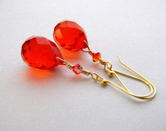 Orange Crystal Earrings, Orange Teardrops, Tangerine briolette, Gold filled, Vermeil, Bright Orange, Fire, Bridal Earrings, Wedding