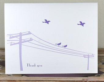 Thank You Cards, Bird Stationery,  Bird Thank You Cards, Stationery, Thank You Notes, Personalized Cards, Telephone Pole