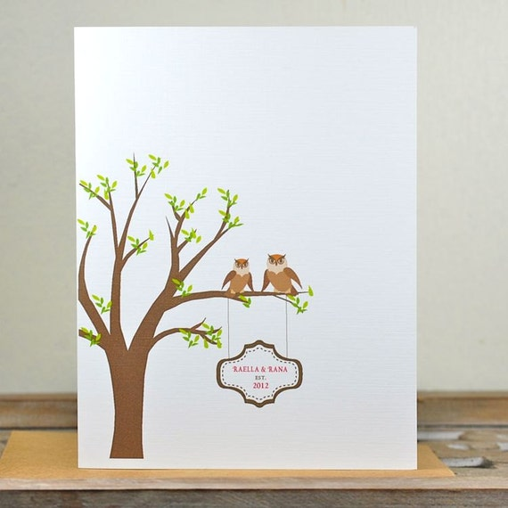 Wedding Thank You Cards, Owls, Owl, Thank You Cards, Bridal Shower, Trees, Affordable Weddings,  Outdoor Weddings
