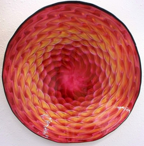 Beautiful Hand Blown Glass Art   Patterned Wall Platter Bowl 2893 ONEIL