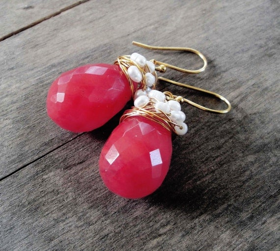 24ct gold plated  wire strawberry quartz earrings - fresh water pearls