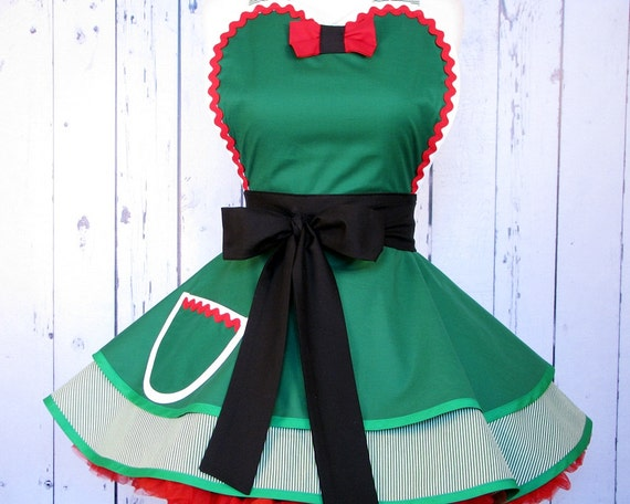 Santas Sexy Elf Apron for Holiday Entertaining by Dots Diner -- in stock
