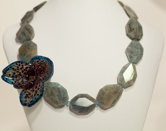 Real, Rare Bellatulum Orchid and Labradorite necklace