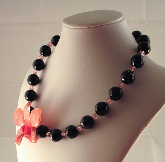 Faceted Onyx and REAL Orchid Necklace