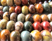 Jasper Beads 6 X 3mm Smooth Natural Picasso Jasper Multicolored Rondelles - 15 Inch Strand
