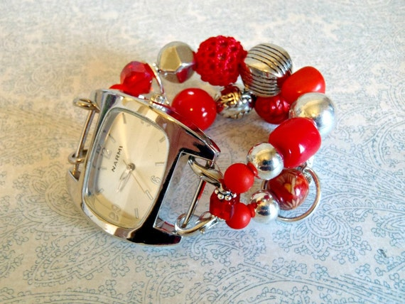 Cherry Red and Silver interchangeable Watch Band