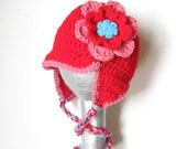 Crochet baby hat, Newborn girls crochet ear flap, baby girl hat with ear flaps children clothing, spring, red, pink, blue -  any colors