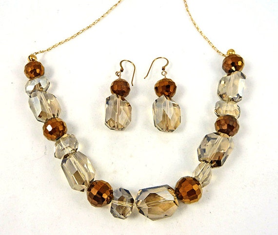 Faceted Gold and Champagne crystal necklace and Earring Set