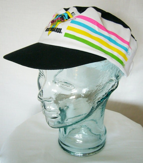 Vintage 80's Morey Boogie Painters Cap Style Hat (Black) - Gary & Wyatt Collection - New Old Stock, Adjustable, Neon Colors