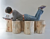 Stump Table Natural No Finish Sealer Applied Tree Trunk Stool Seat Reclaimed Eco Friendly Minimalist