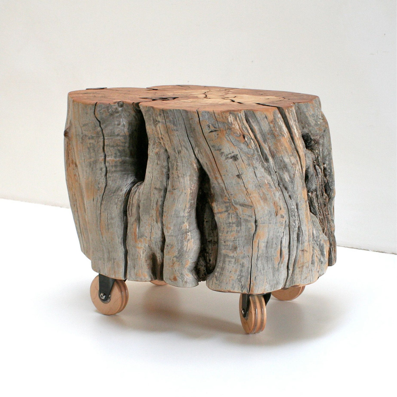 Reclaimed Wood Stump Footstool On Casters