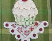 Cupcake Applique  PDF Pattern for Tea Towel
