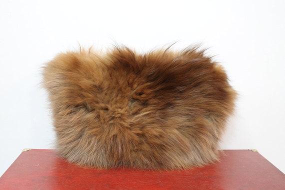 50s Fur Muff Wristlet Purse Handbag Brown Long Fur Clutch Warm Winter Hand Warmer