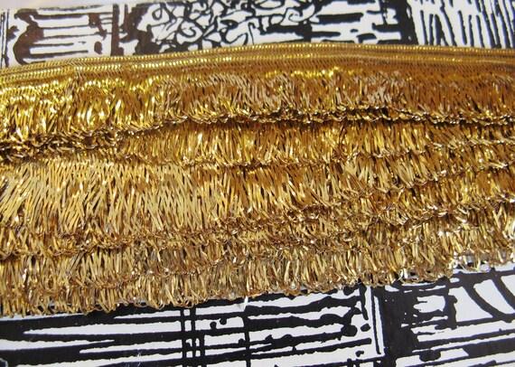 """Vintage 50s Gold Metallic Loop Fringe Trim, 1"""" Wide, by the Yard"""