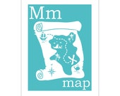 M is for Map 8x10 inch poster print by Finny and Zook