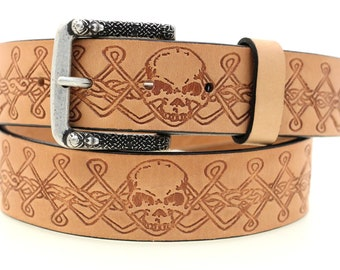 """1 1/2"""" Men's Tan Harness Leather Belt With Original Skull And Celtic Knot Work Design And Matching Buckle Made In America"""