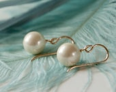 Gold filled large south sea shell pearl earrings - gold filled hook - wedding  bridesmaid gift set - bridesmaids