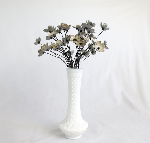 Rustic Bouquet of 36 Gray Metal Flowers For Wedding Or Centerpiece