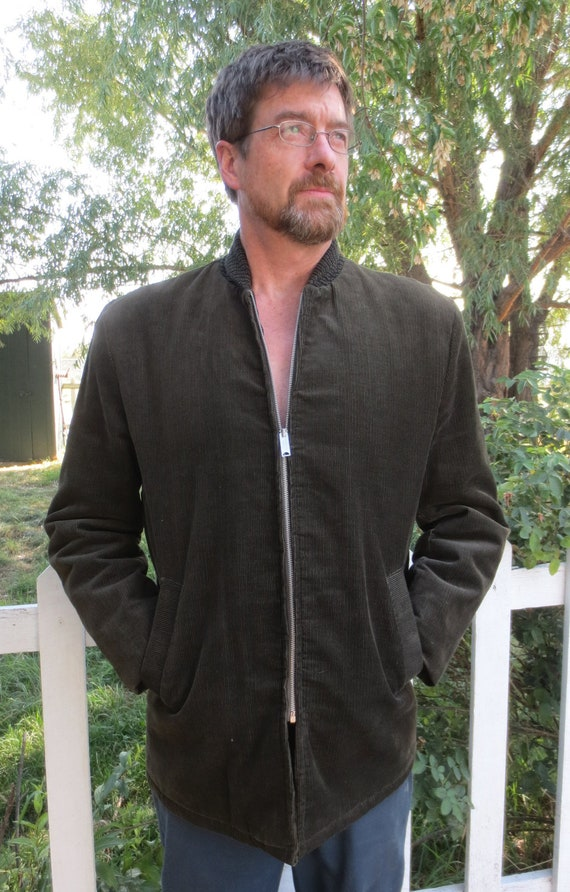 Mint 1950's Vintage Man's Olive Corduroy Jacket w/Gold Insulated Satin Lining & Knit Collar - LG
