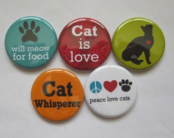 """Cat magnets perfect gift for cat owners choose 1"""" or 1.25"""""""
