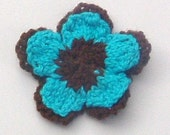 Brown and Turquoise Flower Corsage Brooch
