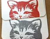Letterpress coasters // Kitty Showdown Red Grey // set of 4