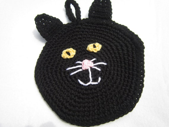 Black Cat Pot Holder for Halloween