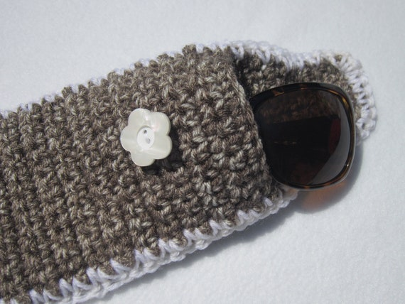 Crocheted Sunglass or Glasses Case Taupe and White
