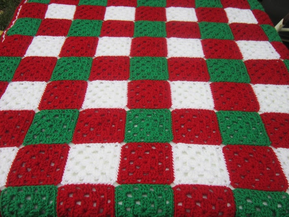 Crochet Christmas Baby Granny Square Afghan, Baby Blanket for Christmas, Red, Green and White Lap Afghan, Granny Square Blanket