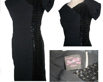 1950s 50s sequin cocktail black dress short sleeve wiggle evening wear Medium Large Mad Men
