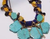 Reserved for Teddy- Tropical Turquoise- Turquoise Slabs, Lapis Gemstones and Chain Necklace by Ashlee Collection on Etsy