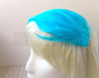 TURQUOISE Blue feather fascinator headband, comb, or hair clip - fascinator millinery supply blank base