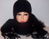 Crochet Black Scarf Beanie Hat Set with Fringes, Woman's scarf and Hat Set, Crochet Scarf Gift Set, MADE TO ORDER