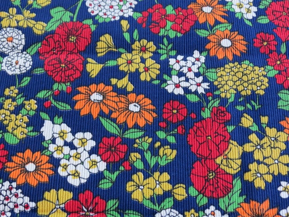 "Vintage Fabric - Navy Blue Floral Corduroy - 1 yd x 44"""