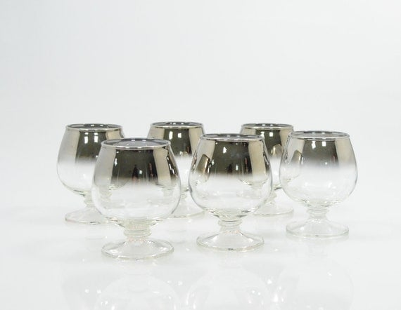 Vi n t a g e  Silver Ombre Mad Men Chic Brandy Snifters Set of Six