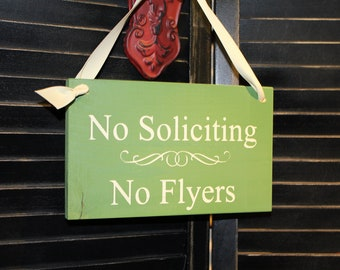 No Soliciting/No FLYERS Sign/Hand painted/Wood/YOU Choose Color/Outdoor Sign/Wood Sign
