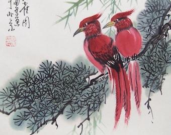 Original painting oriental art chinese art-Two lovely birds
