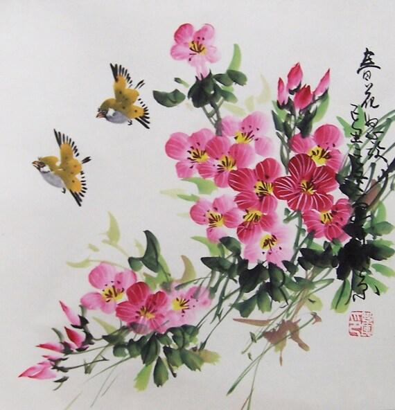 Original painting oriental art chinese art-tea flower with two birds