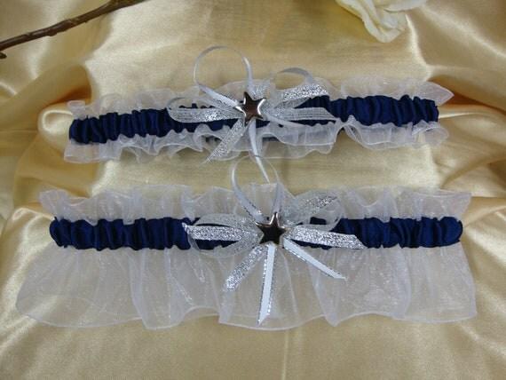 Sheer White and Navy Blue Wedding Garter Set Dallas Cowboys Inspired