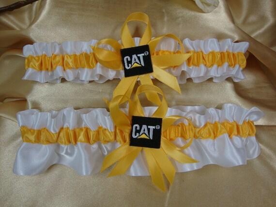 Caterpillar Cat Equipment Inspired Yellow and White Wedding Garter Set